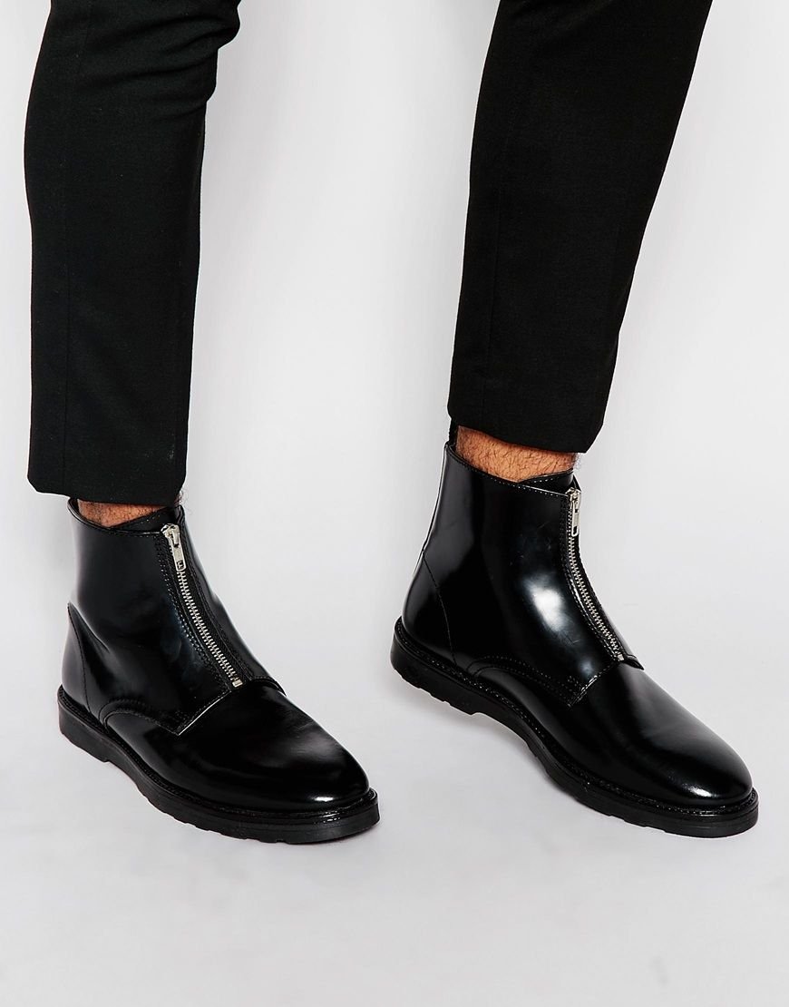 Image 1 of ASOS Zip Boots in Black Leather | Zapatos | Pinterest ...