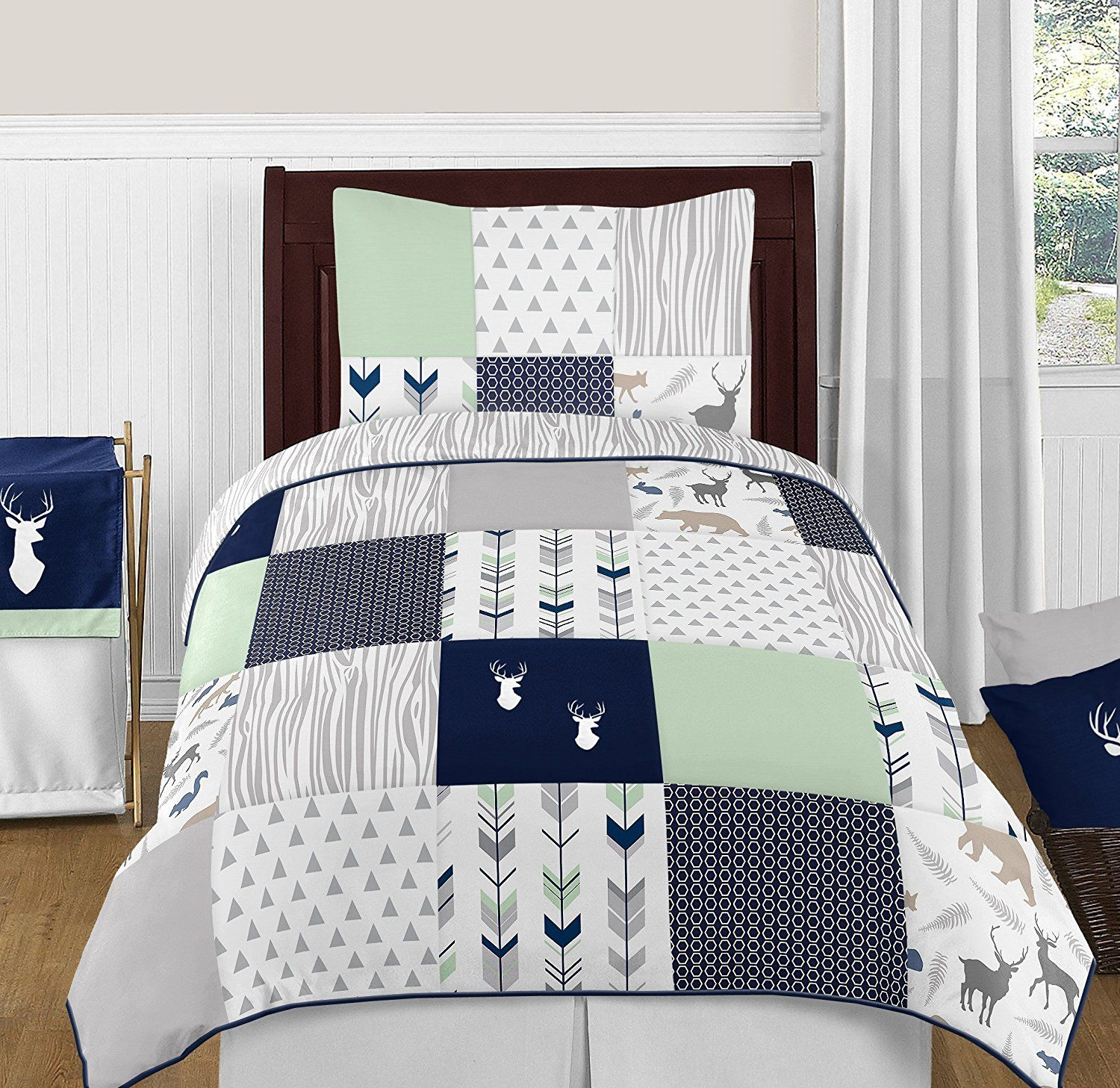 Navy Blue Mint And Grey Woodsy Deer Boys 4 Piece Kids Childrens Twin Bedding Set