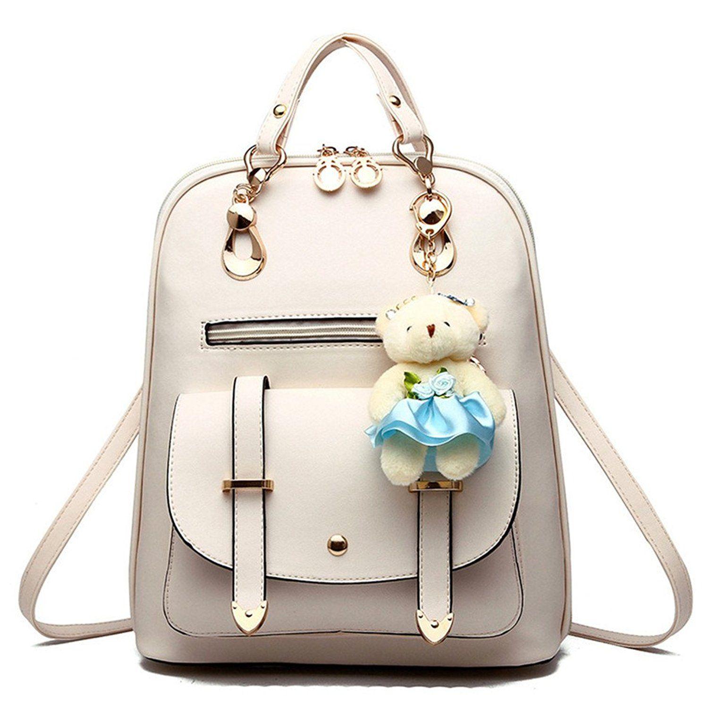 8aa1f38d649ce Hynbase Women's Summer Cute Korean Leather Student Bag Backpack Shoulder  Bag Black: Handbags: Amazon.com