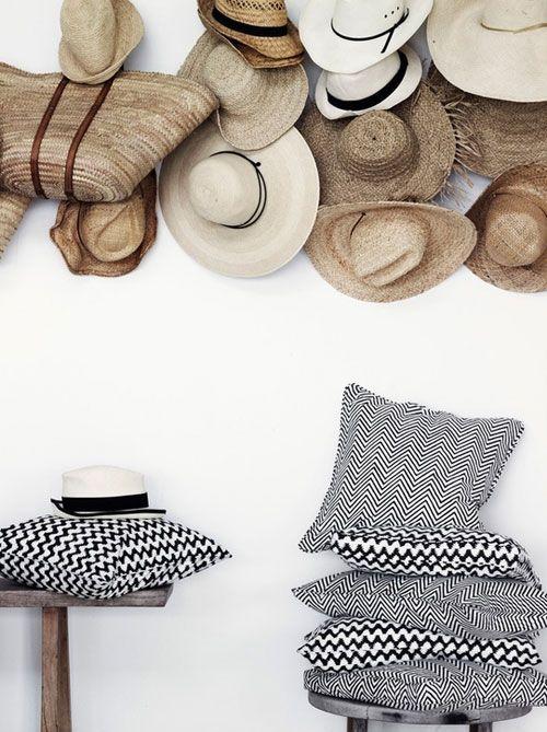 """Black White Herringbone Tweed Pillows Raffia Hats #home #decor"""