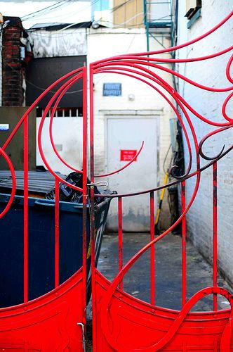 Red Wrought Iron Gate In Chinatown By I Rainydays Via Flickr