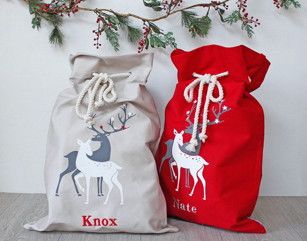 Personalised Christmas Santa Sacks Stocking Xmas Red Reindeer Sack