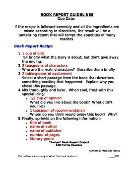 Elementary Reading Book Report Project  Make A Recipe Rubric