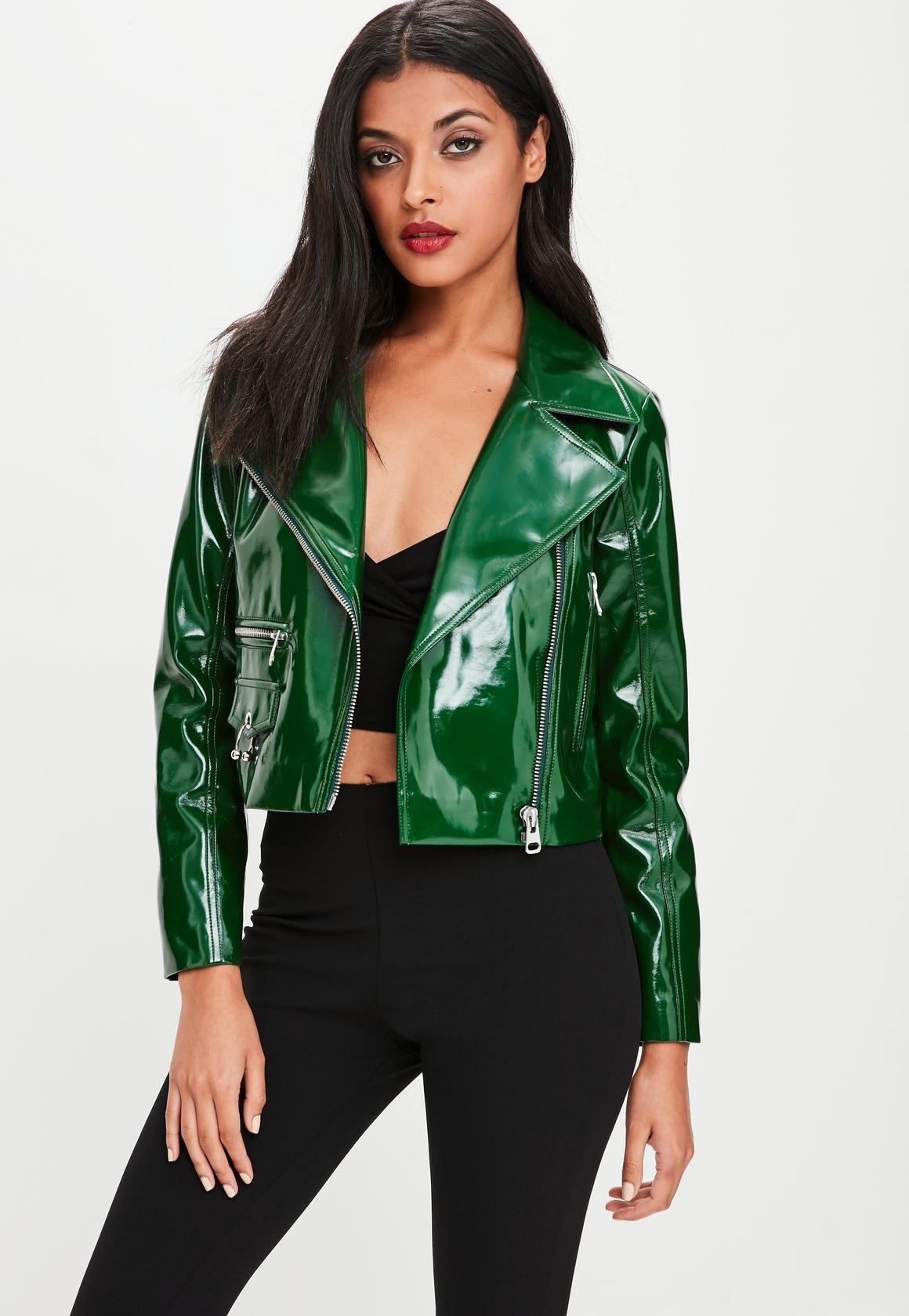 7bfad482bbd6 Missguided - Green Vinyl Biker Jacket