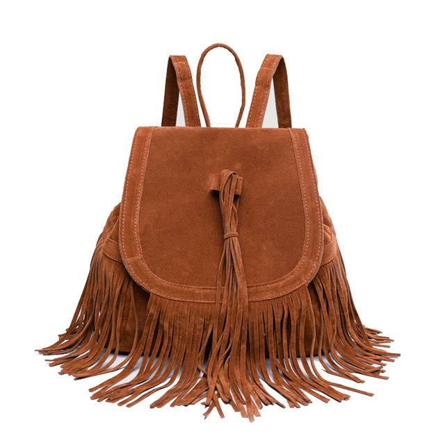 Spring Newest Faux Suede Backpacks Women Casual Tassel Handbags Girl Fashion Draw String Brown Day pack Female