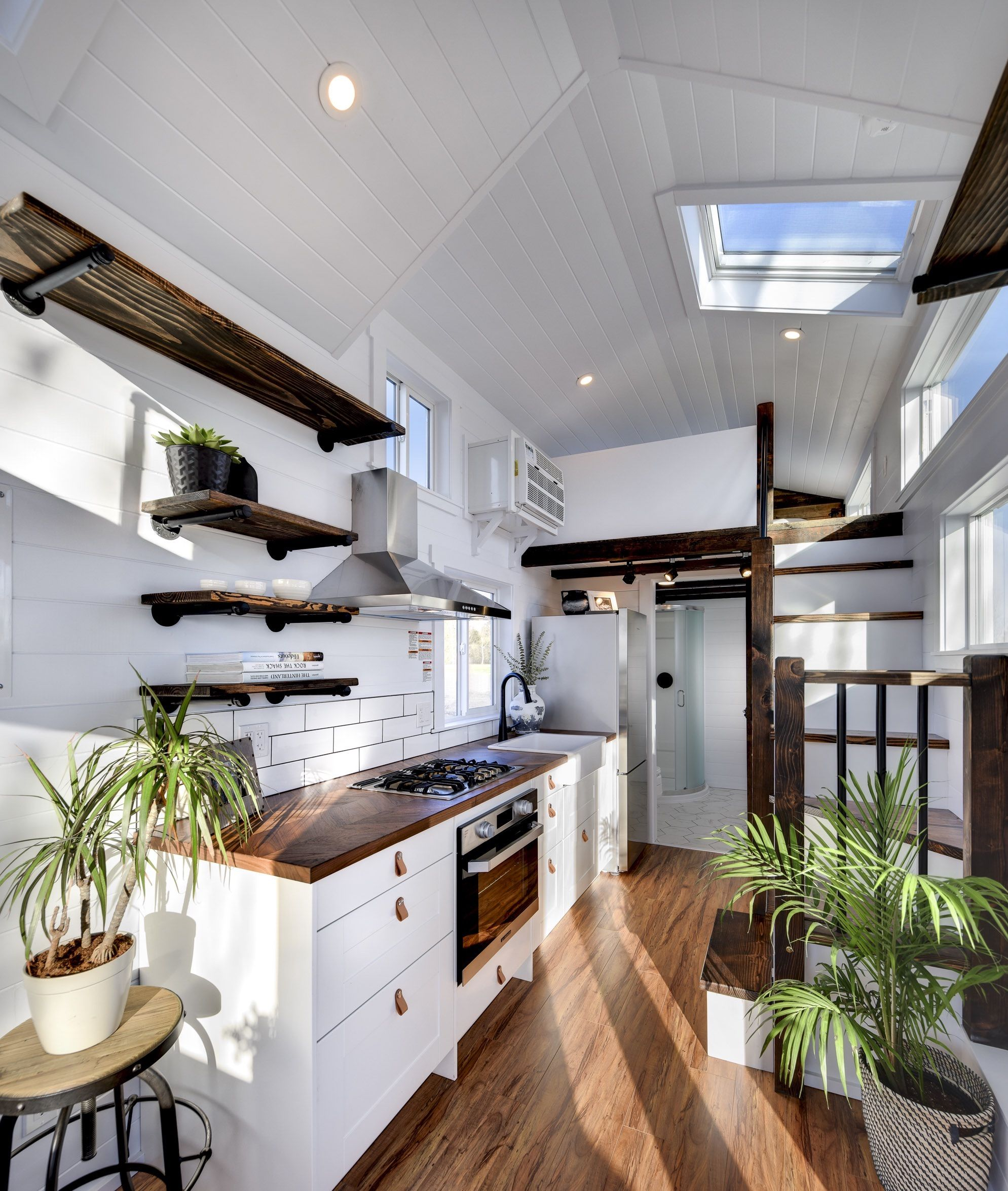 Tiny House Kitchen Complete With Herringbone Countertop With