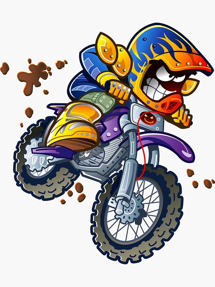 Motorcycle Cartoon Illustration Freestyle Motocross Motorcycle Racing Motorcycle Race Racing Motorcycle Vector Sports Sticker By Graffitistreet In 2021 Bike Art Bike Rider Dirt Bike