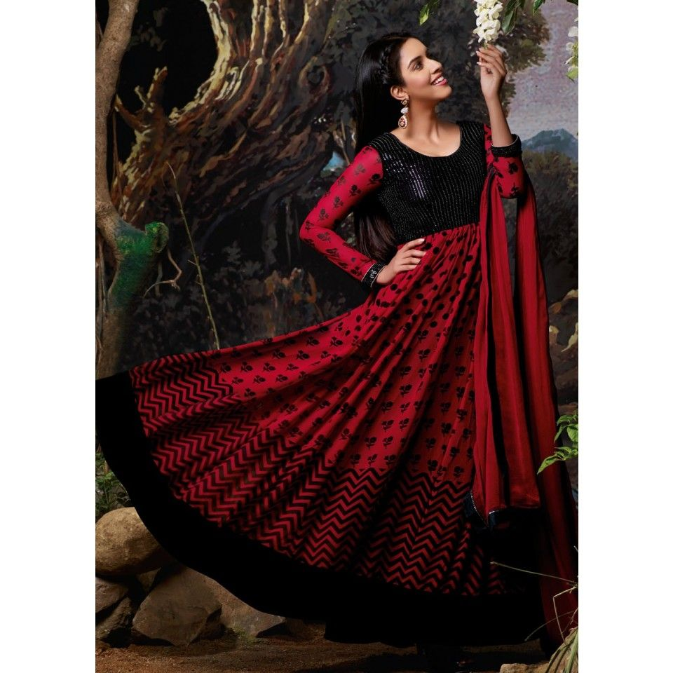 Black and Red Floor Length Dress