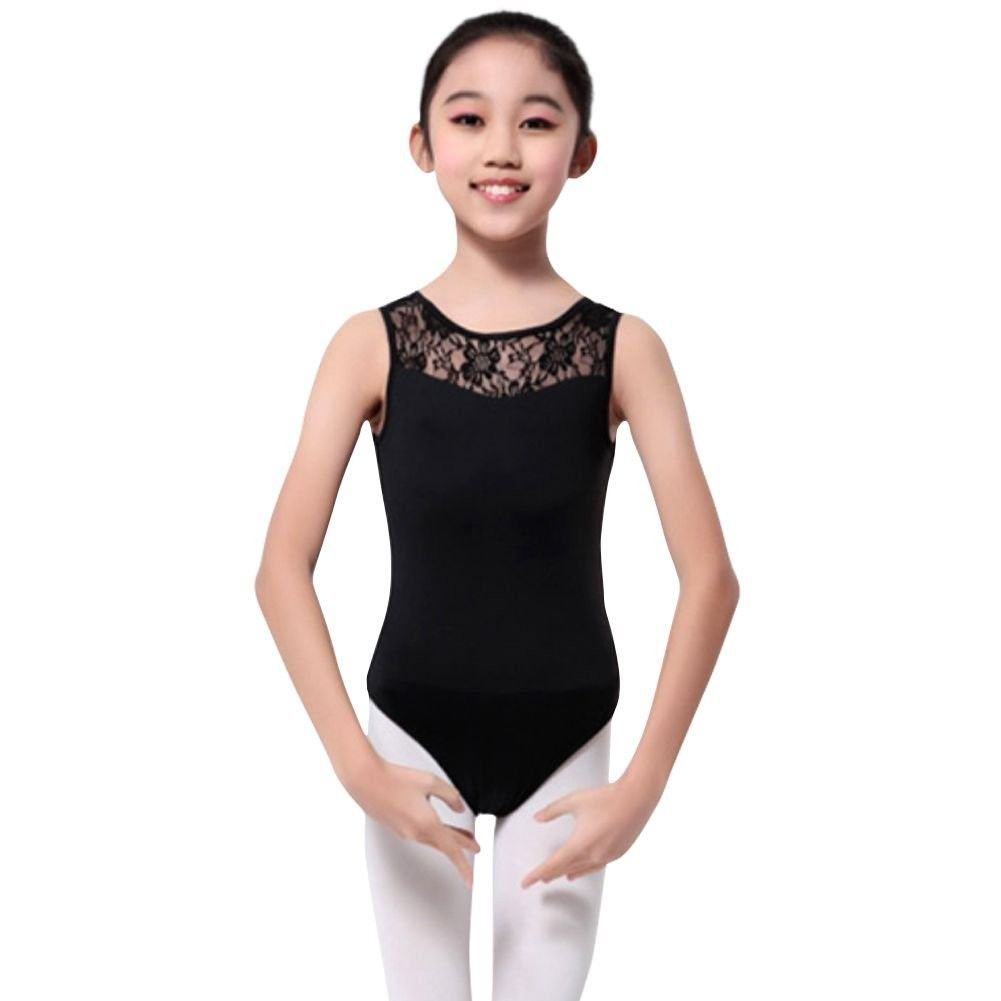 Girls Floral Lace Gymnastics Leotard Ballet Dance Dress Bodysuit Dancewear Tops