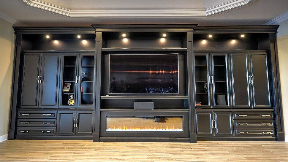 Furniture Winsome Built In Entertainment Center Diy Ideas And Designs For Your New Home With Fireplace Modern Using Stock Cabinets Contemporary Corner