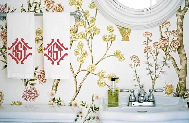 The Perfect Bath Floral Wallpaper Monogrammed Hand Towels
