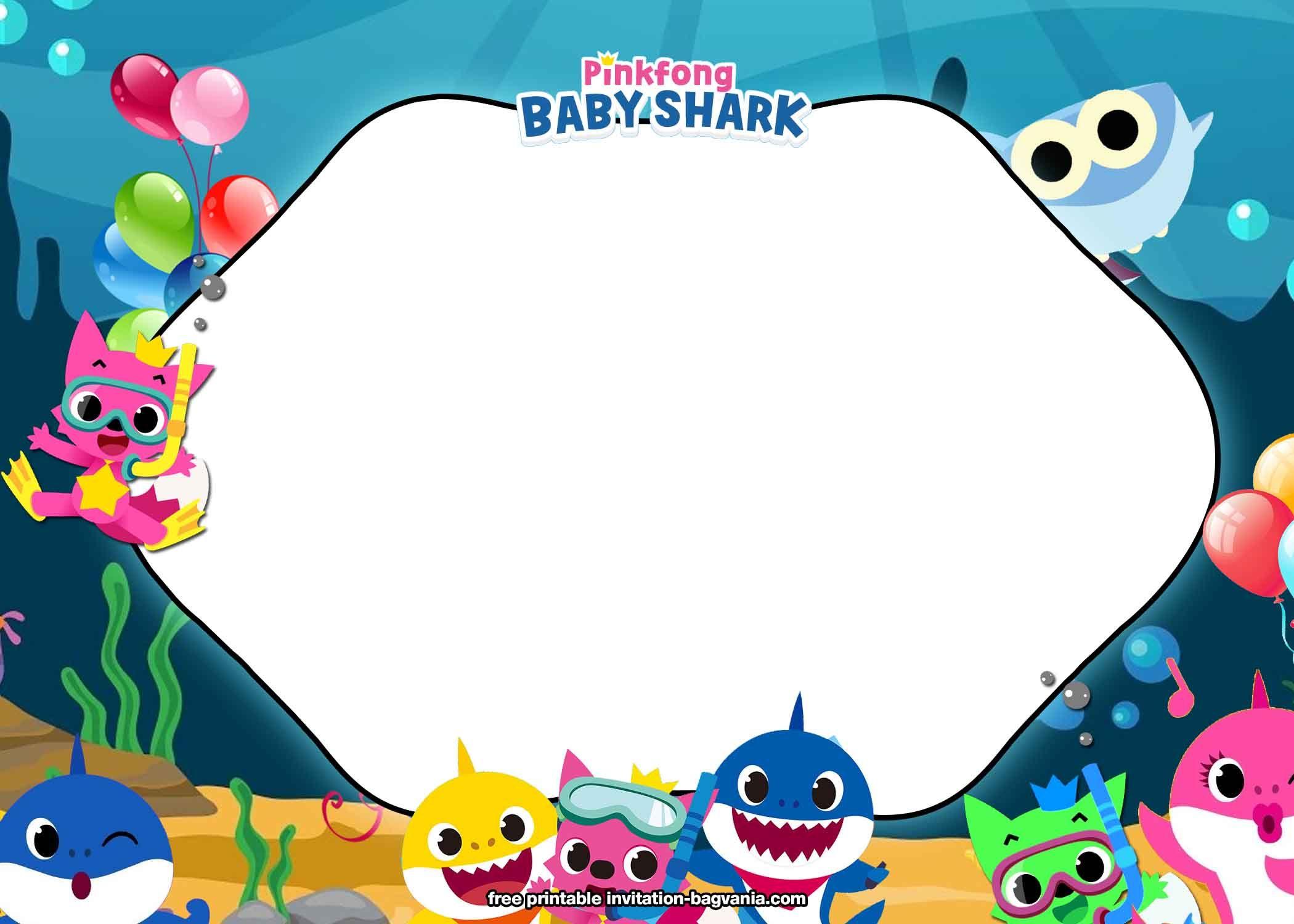 Free Printable Baby Shark Birthday Invitation Templates Shark Birthday Invitations Shark Birthday Party Invitation Shark Theme Birthday