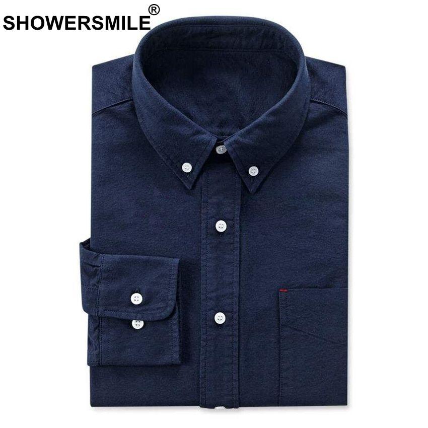 aa293c766 SHOWERSMILE Long Sleeve Navy Oxford Shirt Men With Pockets Autumn Cotton Mens  Dress Shirts Button Down