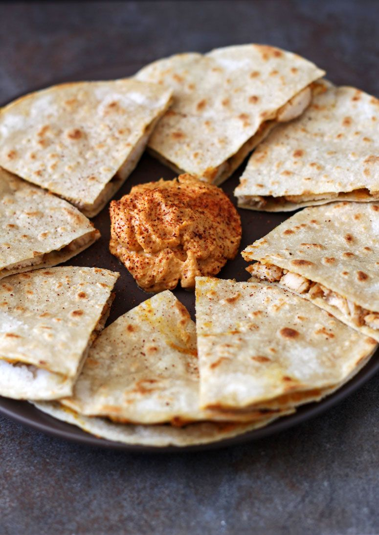 Chicken Quesadilla with Pumpkin Goat Cheese Spread