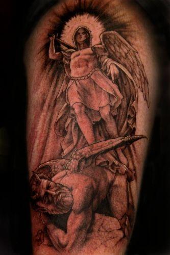 Pin On Angel Vs Devil Tattoos