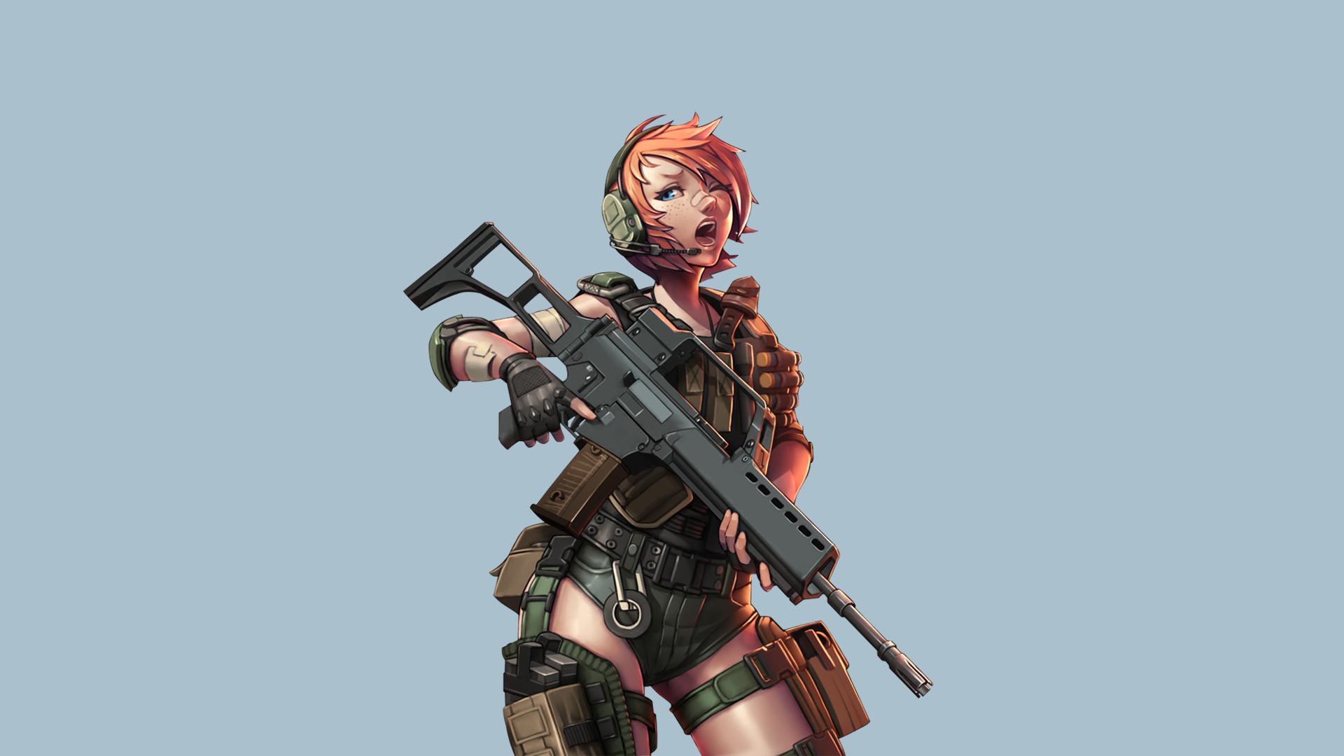 Anime 1920x1080 anime girls orange hair gun weapon short
