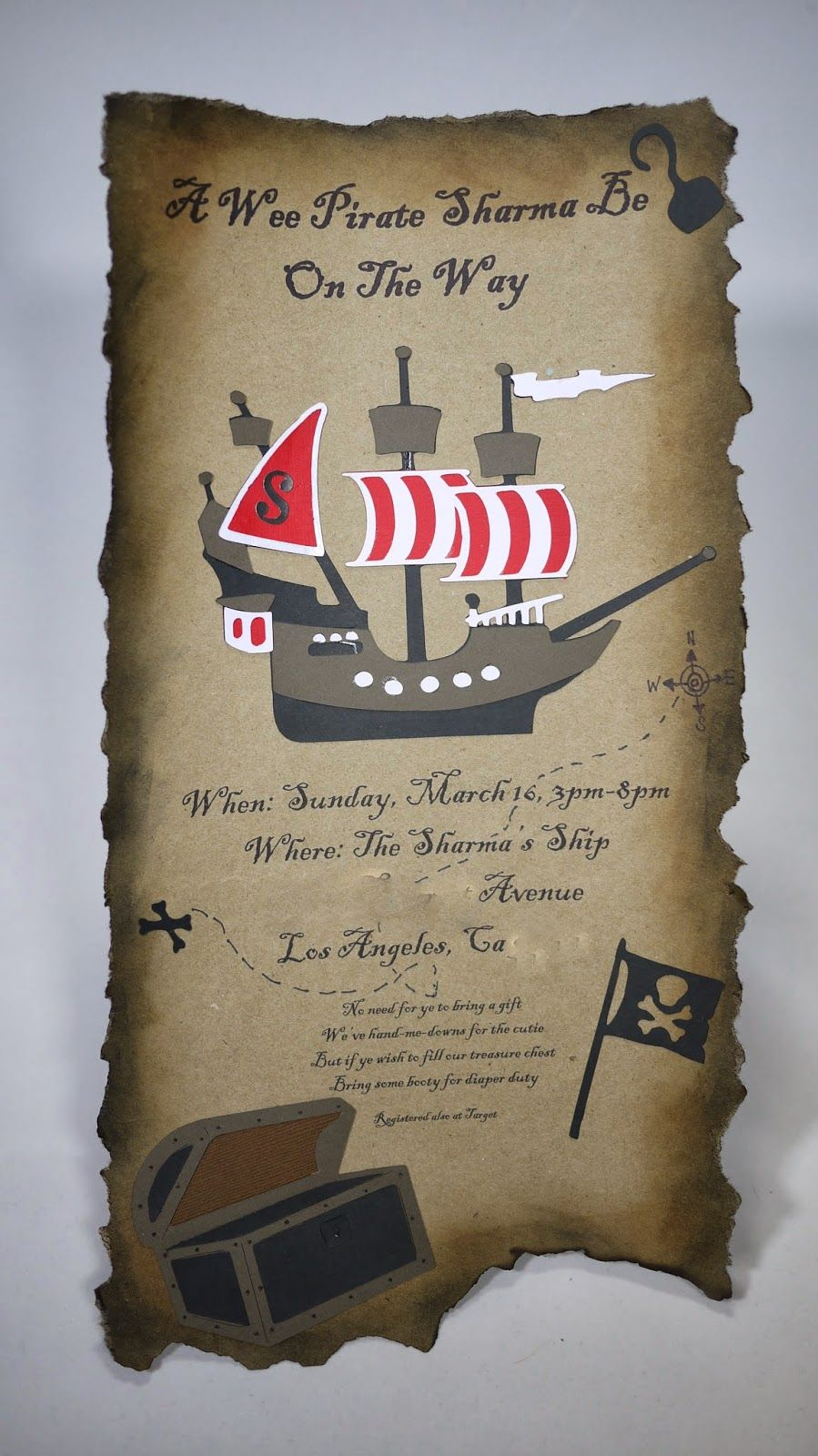 Pirate Treasure Map Baby Shower Invitation | Bday party ideas ...