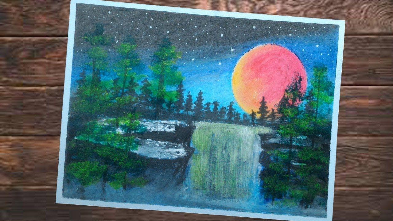 """CARA MENGGAMBAR PEMANDAGAN AIR TERJUN """"waterfall"""" Oil Pastel"""