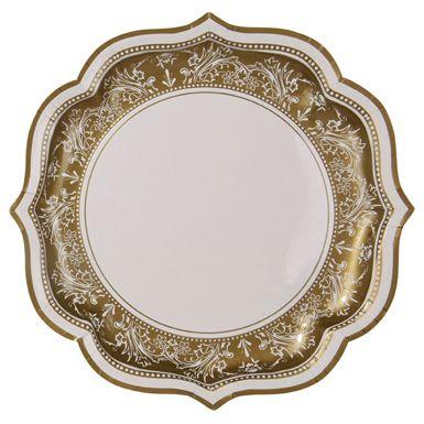 Faux Porcelain Gold Dinner Paper Plates  sc 1 st  Pinterest & Faux Porcelain Gold Dinner Paper Plates   FIRST COMMUNION ...