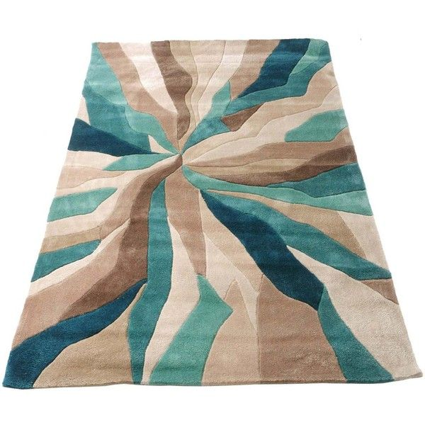 Nebula Rug In Beige Teal Blue And Brown 65 Liked On Polyvore Featuring Home Rugs Blossom Off White Cream