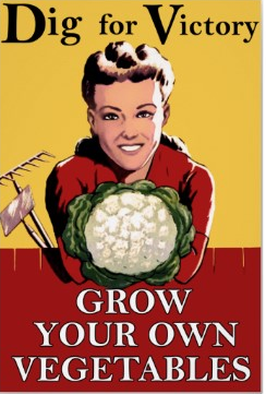 Vintage British Victory Garden Poster Dig For Grow Your Own Vegetables