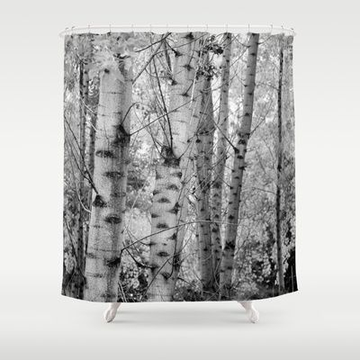 Into the forest. BN panoramic Shower Curtain by Guido Montañés - $68.00