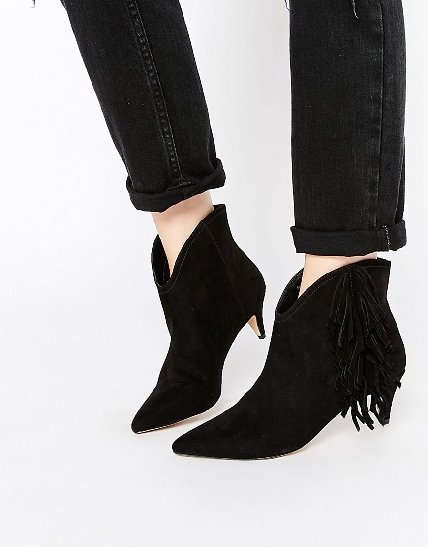 Boots by ASOS Collection Suede leather Fringe detailing Pointed toe Low  heel Protect with a suede cleaner Leather