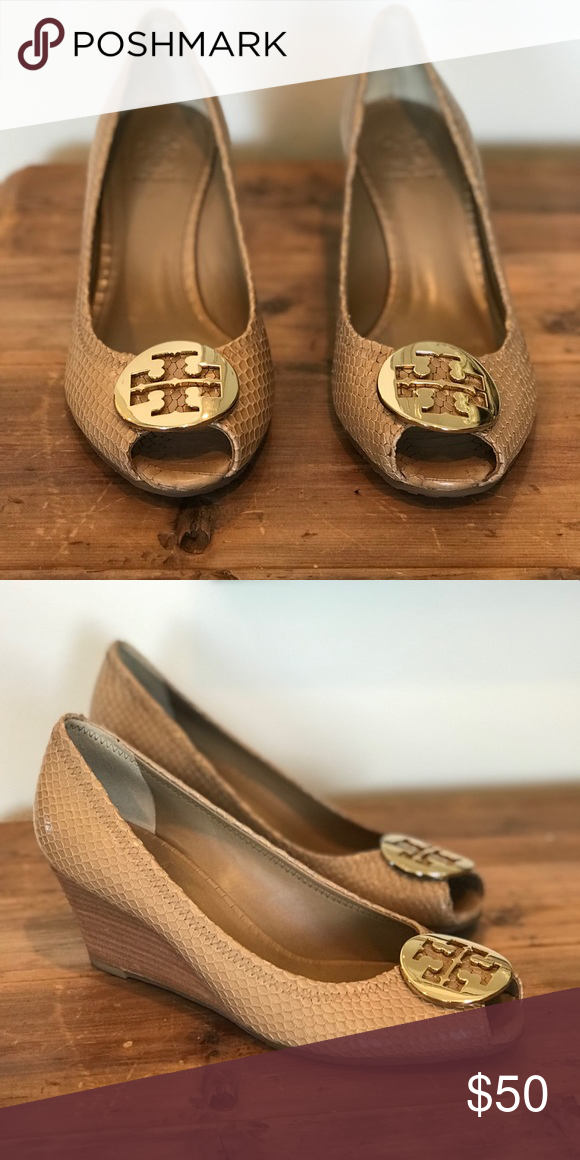 bc2a3efb96ac6 Tory Burch Nude Sally Wedges Size 8 Tory Burch Nude Sally 2 Peep Wedges size  8.5. Light brown snake embossed upper Gold tone Reva medallion Stacked wedge  ...