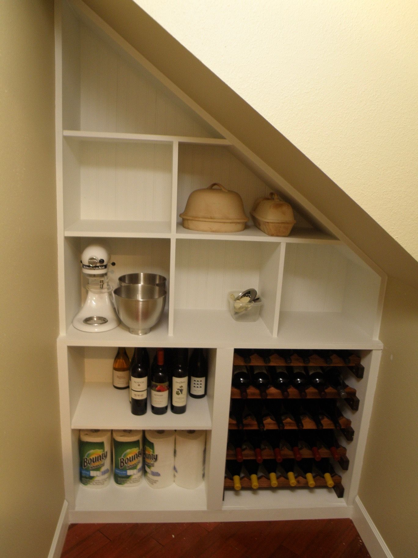 Kitchen Pantry Shelving Creates Great Additional Storage Space In A Small Closet Under An Exis Closet Under Stairs Small Apartment Closet Under Stairs Pantry