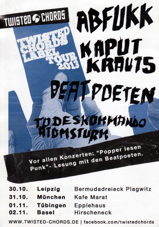 LIVE! Punk Merkzettel - ABFUKK + KAPUT KRAUTS + BEATPOETEN + TODESKOMMANDO ATOMSTURM