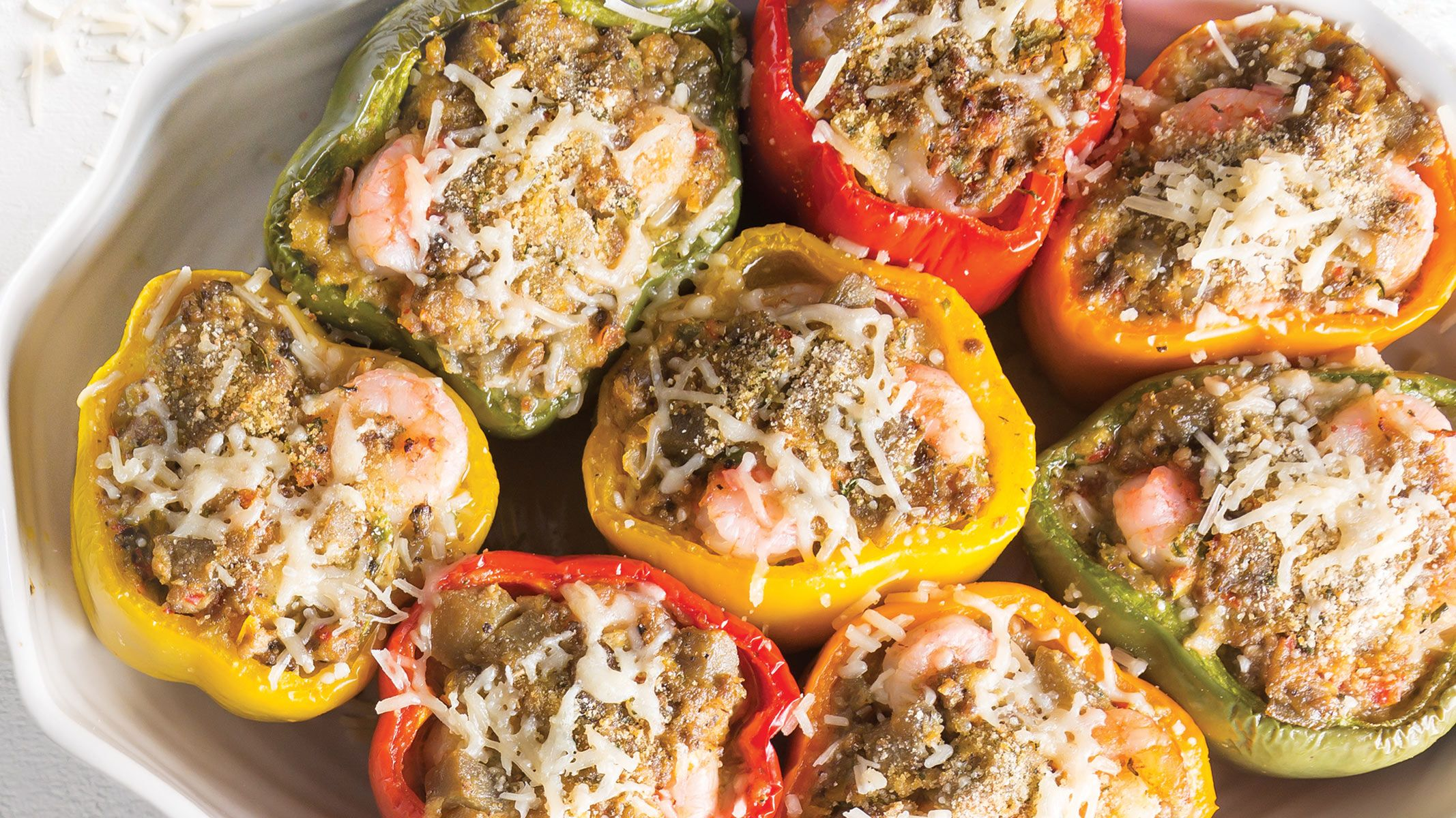 Chef John Folse S Eggplant Stuffed Bell Peppers With River Shrimp Recipe Stuffed Peppers Stuffed Bell Peppers Chef John Folse