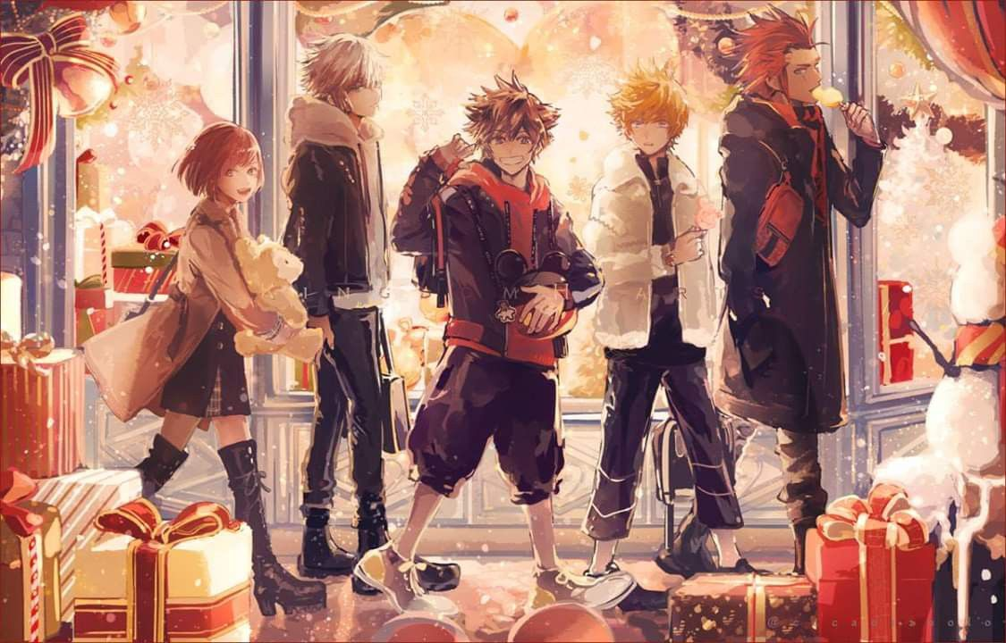 Sora Riku Kairi Roxas Lea Christmas Xmas Kingdom Hearts Iii