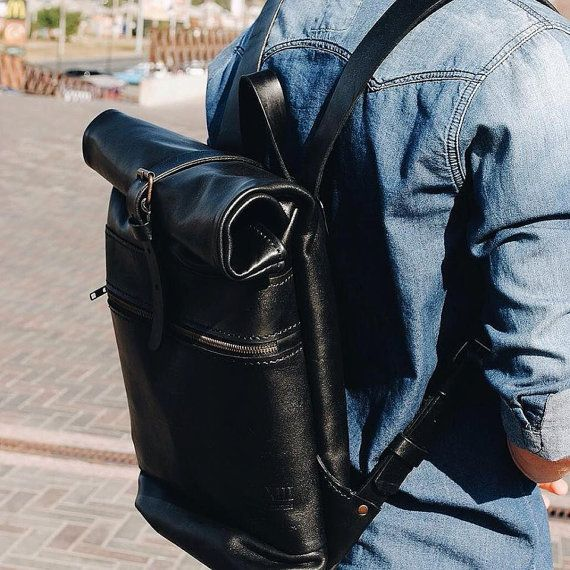 Rocket backpack, leather backpack, rucksack backpack, mens rucksack, black…