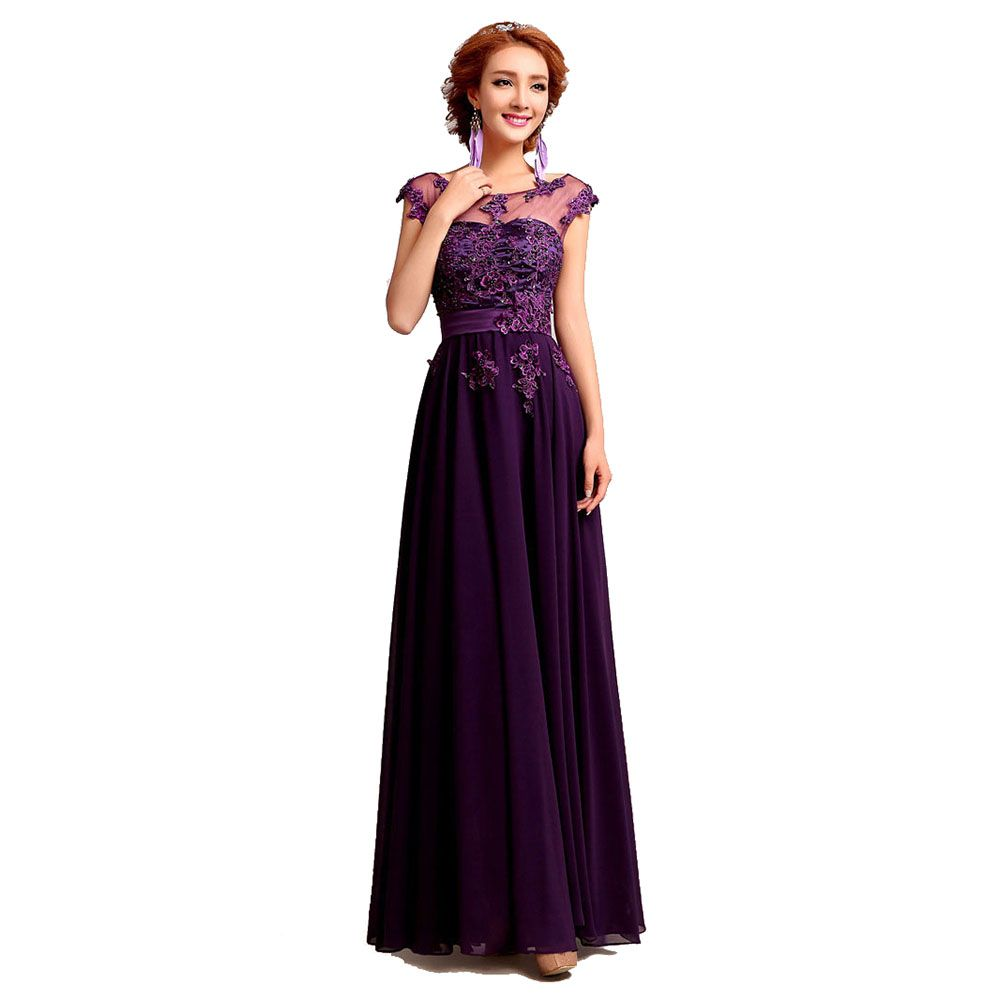 >> Click to Buy << New  Long Chiffon Evening Dress Purple Embroidery Beading Hollow Out Evening Gowns V Back Plus Size Party Dress For Women #Affiliate