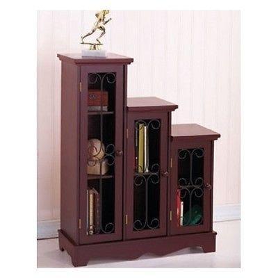 Cabinet Stair Step Graduated Set Storage Furniture Wood Shelves Curio  Display