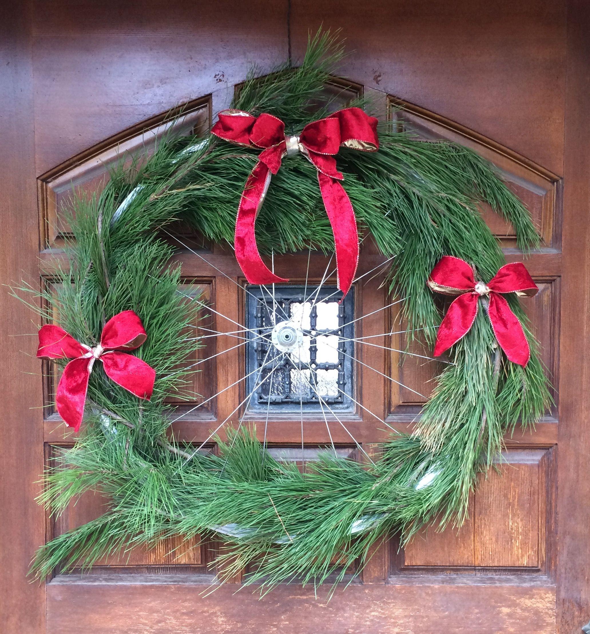 Bicycle Wheel Christmas Wreath