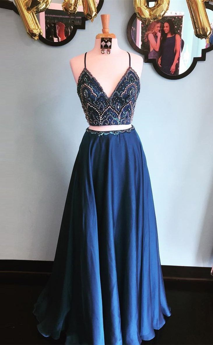 Modest two piece navy blue long prom dresses unique spaghetti