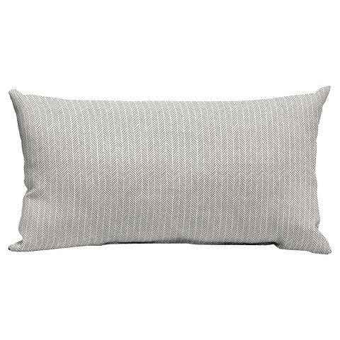 Room Essentials Outdoor Lumbar Pillow Light Gray Herringbone