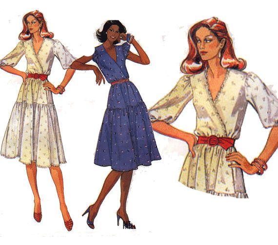 80s Dress Sewing Pattern Faux Wrap Bodice Boho Tiered Skirt Size 14 ...