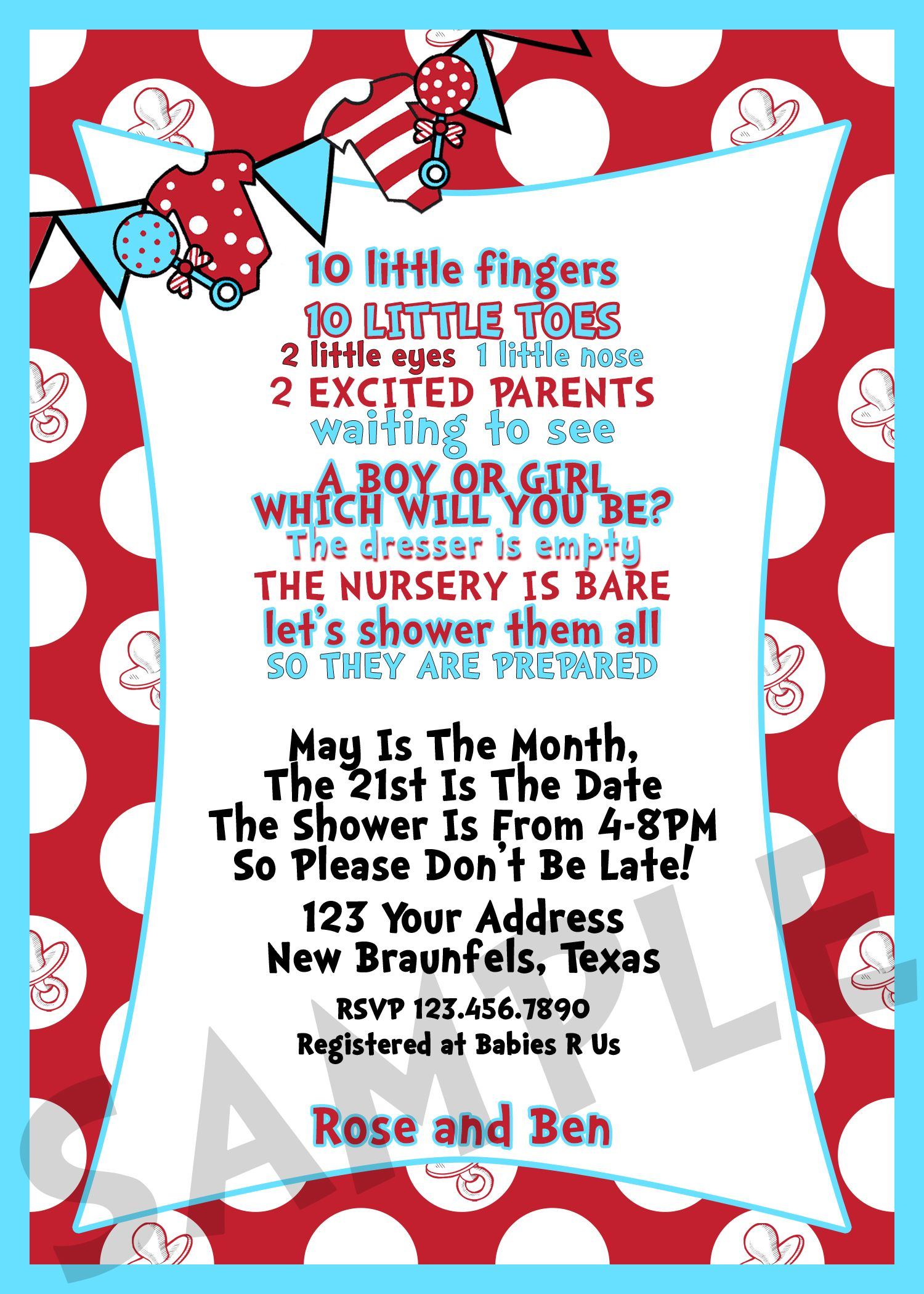 Dr Seuss Baby Shower Invitation 5x7 Facebook.com/pixelsbychrystal