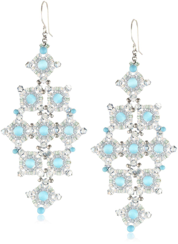 Amazon: Miguel Ases Cat's Eye And Turquoise Diamondshape Drop Earrings: