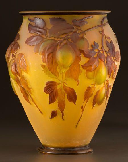 "Émile Gallé (1846-1904) - Fruiting Plums Vase. Cameo Glass. Nancy, France. Circa 1900. 12-1/2""."