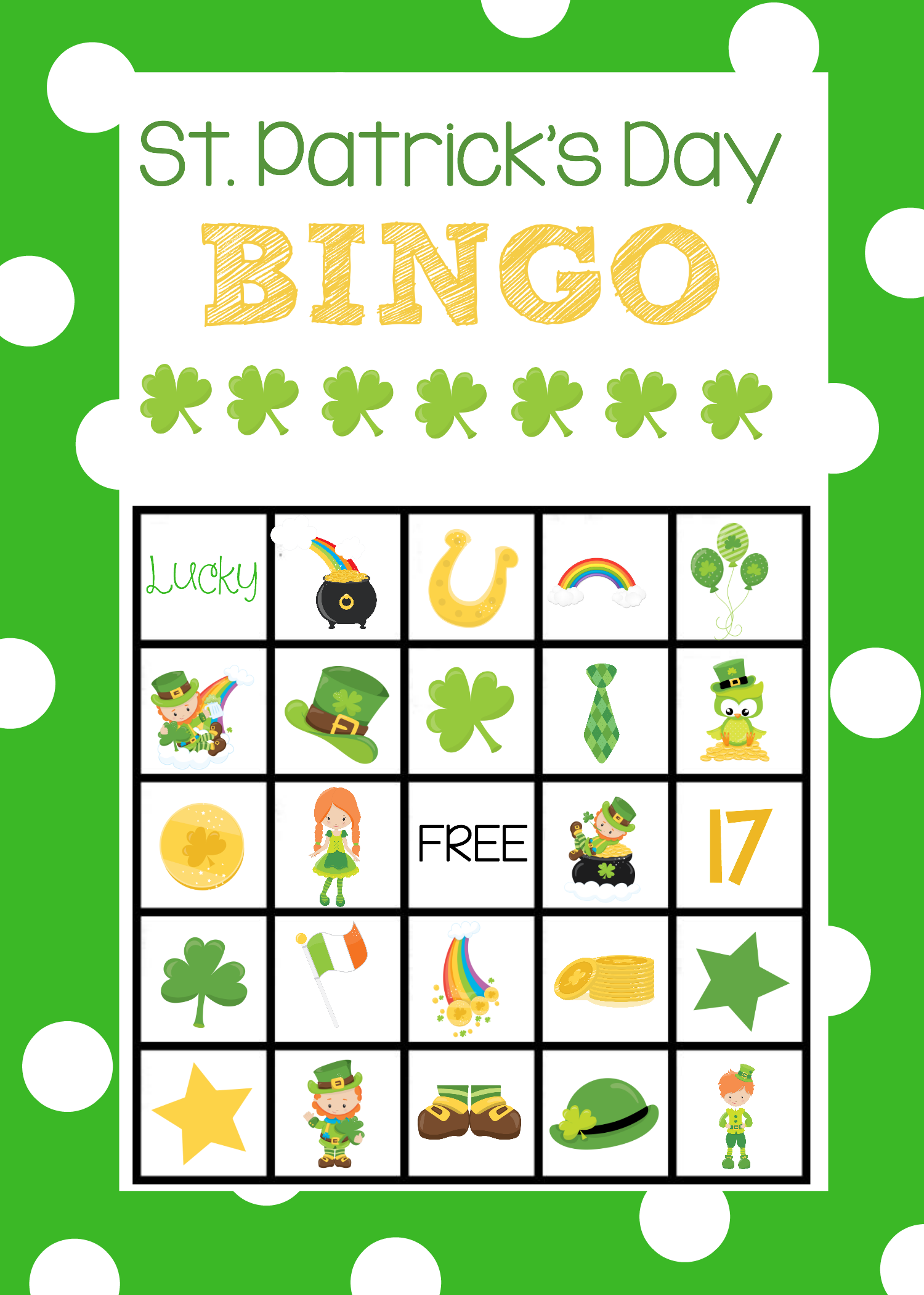 St Patrick S Day Bingo Game