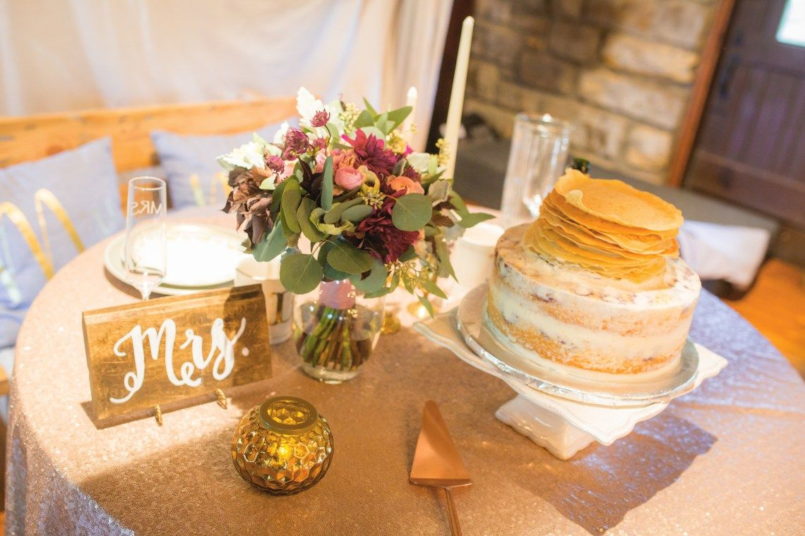Burgundy Marsala Wedding Brunch With Blueberry Lemon Cake Crepes Pancakes On Top Eucalytpus Bouquet