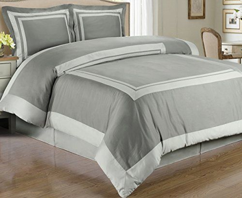 4pc Modern Hotel Light Grey Trim Cotton Bedding Duvet