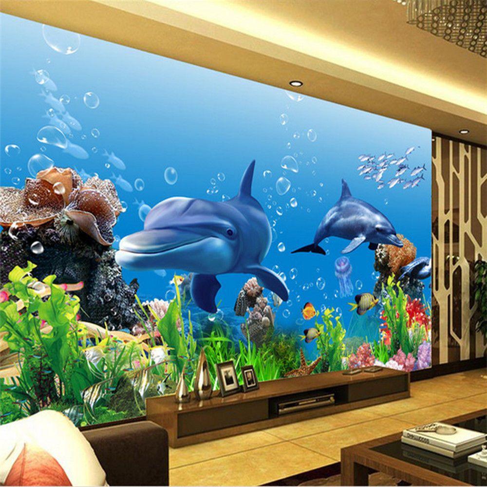 3d Wallpaper Bedroom Mural Modern Living Room Tv Undersea World Background Wall Bedroom Murals Wallpaper Bedroom Mural Underwater living room background