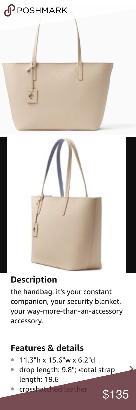 Kate Spade Scott's place Lida beige leather tote