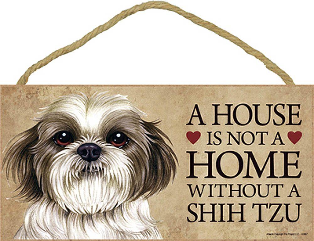 Shih Tzu Sign Plaque Wall Decor Brown /& White