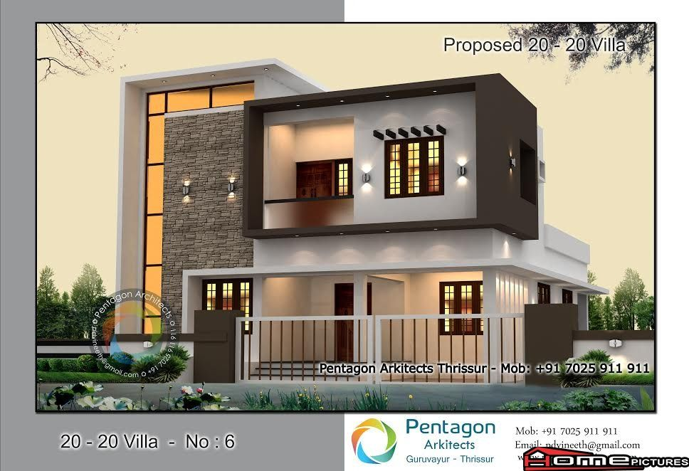 1914 Square Feet 2 Attached Bedroom Contemporary Style Home Design And Plan New House Plans Contemporary Style Homes House Front Design