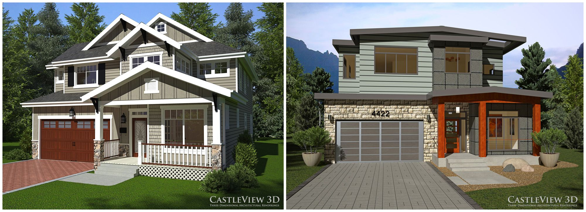 Two 3D renderings of a house one Craftsman and one Modern